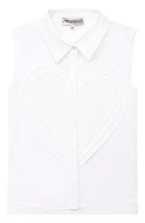 Детское хлопковая блузка SIMONETTA белого цвета, арт. 1O5082 | Фото 1