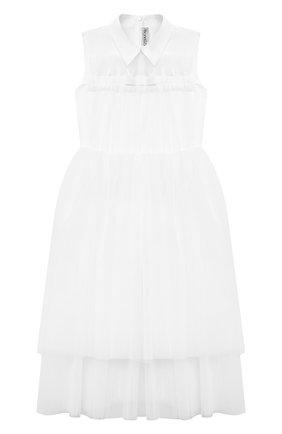 Детское хлопковое платье SIMONETTA белого цвета, арт. 1O1192 | Фото 1