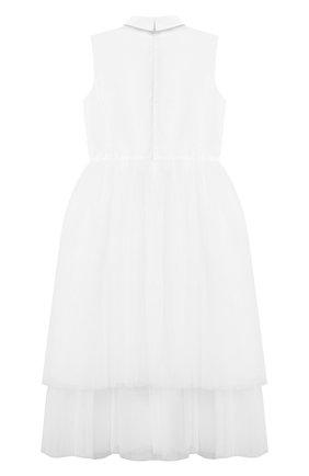 Детское хлопковое платье SIMONETTA белого цвета, арт. 1O1192 | Фото 2
