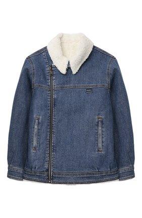 Детского утепленная джинсовая куртка DOLCE & GABBANA синего цвета, арт. L42B07/LD908/8-14 | Фото 1