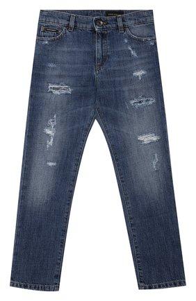 Детские джинсы DOLCE & GABBANA синего цвета, арт. L42F03/LD944/8-14   Фото 1