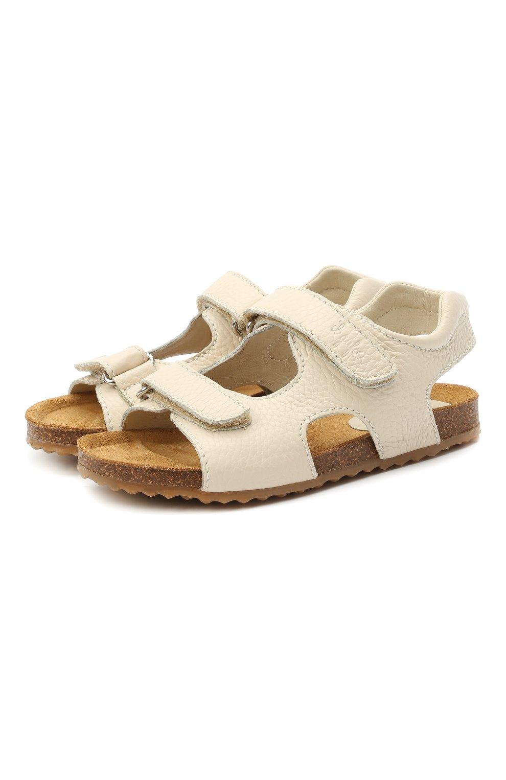 Детские кожаные сандалии IL GUFO бежевого цвета, арт. G550/VITELL0 CERV0/35-42   Фото 1 (Материал внутренний: Натуральная кожа)