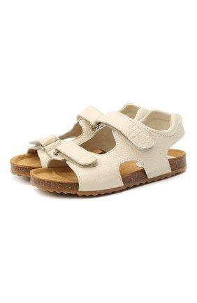 Детские кожаные сандалии IL GUFO бежевого цвета, арт. G550/VITELL0 CERV0/35-42 | Фото 1 (Материал внутренний: Натуральная кожа)