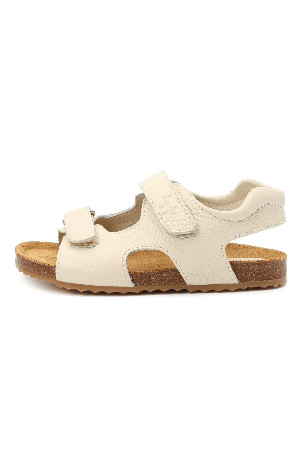 Детские кожаные сандалии IL GUFO бежевого цвета, арт. G550/VITELL0 CERV0/35-42   Фото 2 (Материал внутренний: Натуральная кожа)