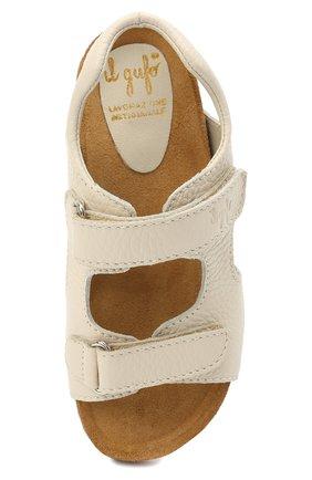 Детские кожаные сандалии IL GUFO бежевого цвета, арт. G550/VITELL0 CERV0/35-42   Фото 4 (Материал внутренний: Натуральная кожа)