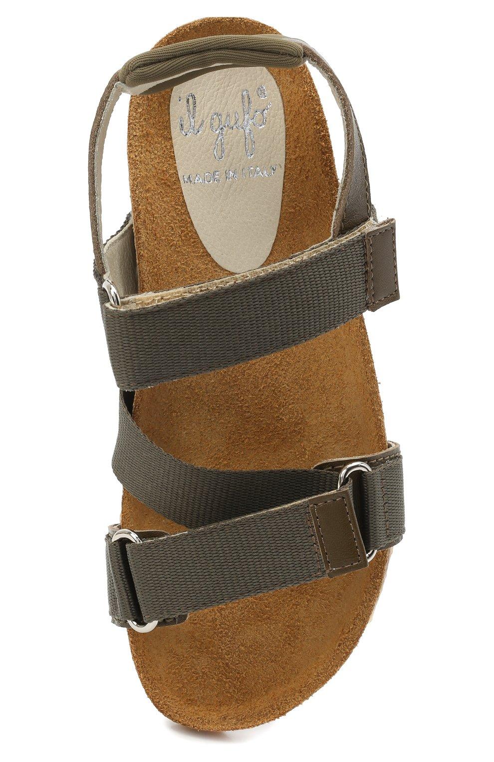 Детские сандалии IL GUFO хаки цвета, арт. G577/VITELL0 NAPPAC0L0RS/27-30   Фото 4 (Материал внешний: Текстиль; Материал внутренний: Натуральная кожа)