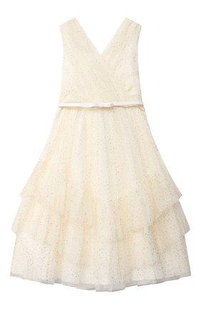 Детское хлопковое платье ALETTA бежевого цвета, арт. AL21588L/4A-8A | Фото 1