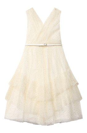 Детское хлопковое платье ALETTA бежевого цвета, арт. AL21588L/4A-8A | Фото 2