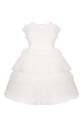 Детское хлопковое платье ALETTA белого цвета, арт. AL21565L/4A-8A | Фото 1