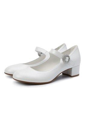 Детские кожаные туфли MISSOURI белого цвета, арт. 78067/27-30   Фото 1