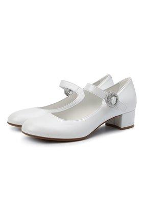 Детские кожаные туфли MISSOURI белого цвета, арт. 78067/31-34   Фото 1