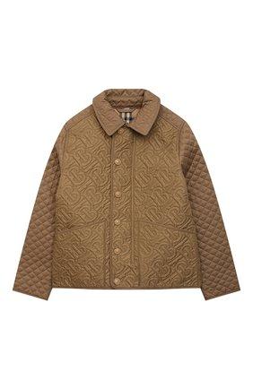 Детская стеганая куртка BURBERRY коричневого цвета, арт. 8036574   Фото 1
