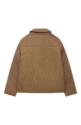 Детская стеганая куртка BURBERRY коричневого цвета, арт. 8036574   Фото 2