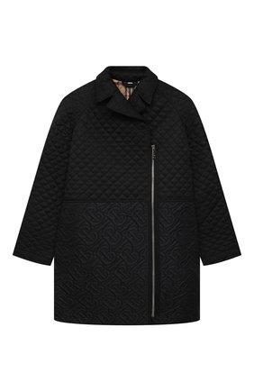 Детское стеганое пальто BURBERRY черного цвета, арт. 8036570   Фото 1