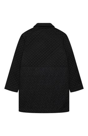 Детское стеганое пальто BURBERRY черного цвета, арт. 8036570   Фото 2