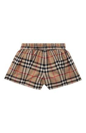 Детские хлопковые шорты BURBERRY бежевого цвета, арт. 8037045 | Фото 2