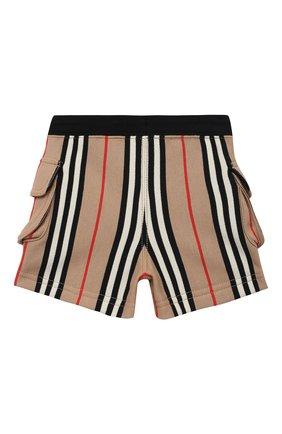 Детские хлопковые шорты BURBERRY бежевого цвета, арт. 8036585 | Фото 2