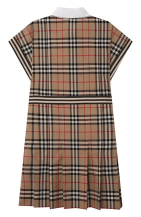 Детское хлопковое платье BURBERRY бежевого цвета, арт. 8036479   Фото 2