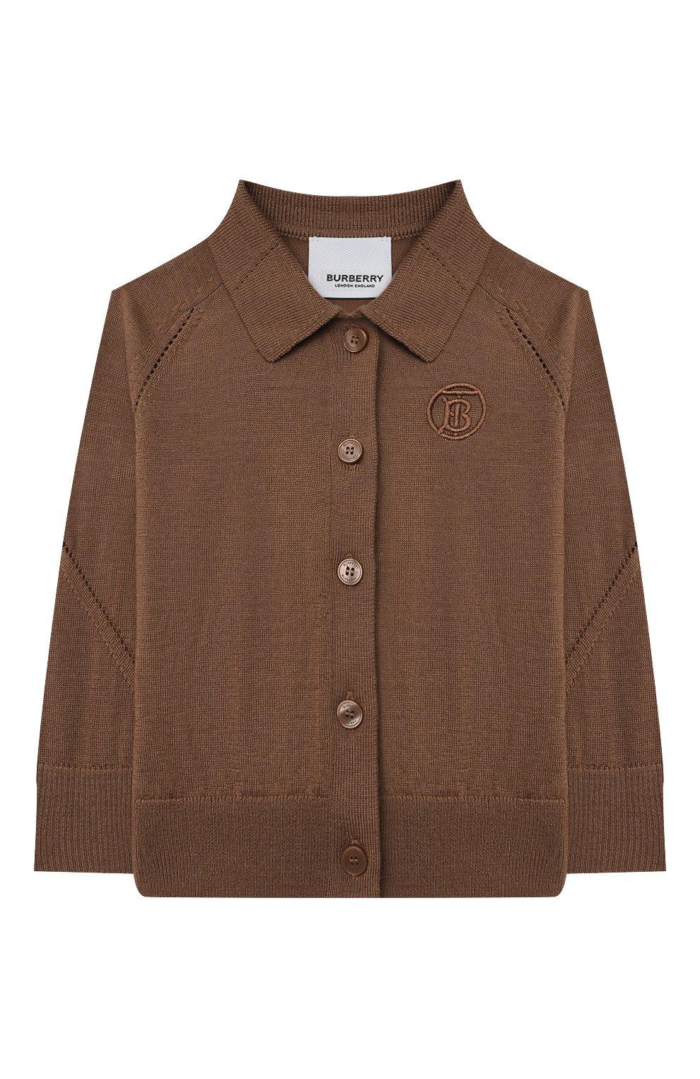 Детский шерстяной кардиган BURBERRY коричневого цвета, арт. 8036448 | Фото 1 (Материал внешний: Шерсть; Рукава: Длинные; Ростовка одежда: 12 мес | 80 см, 18 мес | 86 см, 24 мес | 92 см)