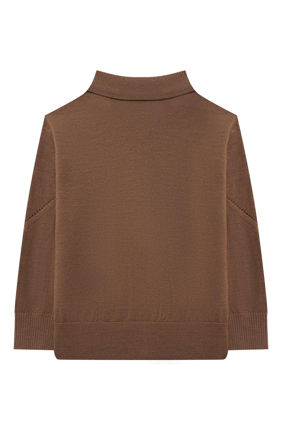 Детский шерстяной кардиган BURBERRY коричневого цвета, арт. 8036448 | Фото 2 (Материал внешний: Шерсть; Рукава: Длинные; Ростовка одежда: 12 мес | 80 см, 18 мес | 86 см, 24 мес | 92 см)