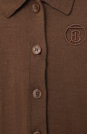 Детский шерстяной кардиган BURBERRY коричневого цвета, арт. 8036448 | Фото 3 (Материал внешний: Шерсть; Рукава: Длинные; Ростовка одежда: 12 мес | 80 см, 18 мес | 86 см, 24 мес | 92 см)
