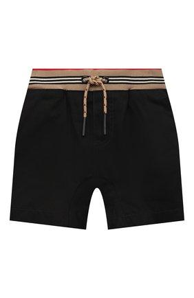 Детские хлопковые шорты BURBERRY черного цвета, арт. 8036434 | Фото 1