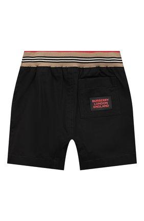 Детские хлопковые шорты BURBERRY черного цвета, арт. 8036434 | Фото 2