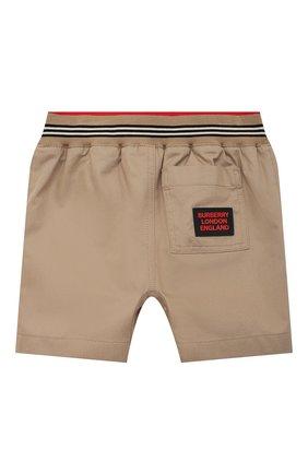 Детские хлопковые шорты BURBERRY бежевого цвета, арт. 8036433 | Фото 2