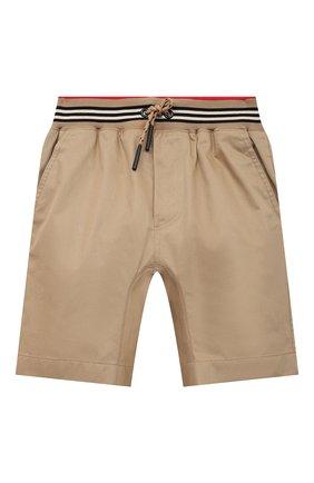 Детские хлопковые шорты BURBERRY бежевого цвета, арт. 8036431 | Фото 1