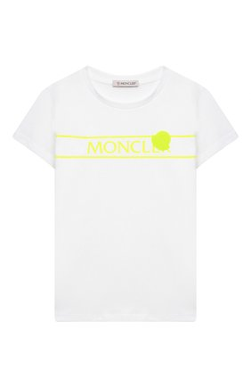 Детская хлопковая футболка MONCLER белого цвета, арт. G1-954-8C744-10-83907/8-10A | Фото 1