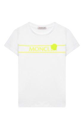 Детская хлопковая футболка MONCLER белого цвета, арт. G1-954-8C744-10-83907/4-6A | Фото 1