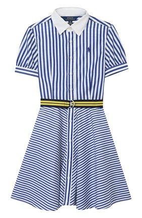 Детское хлопковое платье POLO RALPH LAUREN голубого цвета, арт. 313833014 | Фото 1