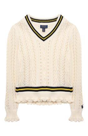 Детский хлопковый пуловер POLO RALPH LAUREN бежевого цвета, арт. 313834982 | Фото 1