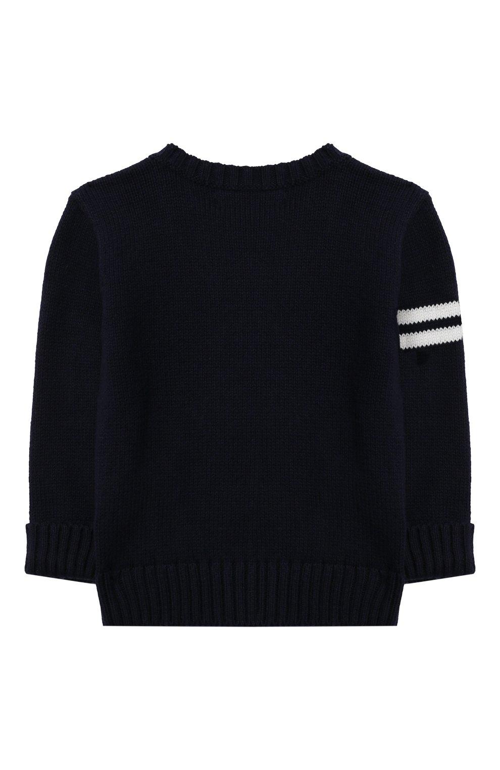 Детский хлопковый пуловер POLO RALPH LAUREN синего цвета, арт. 320834677 | Фото 2