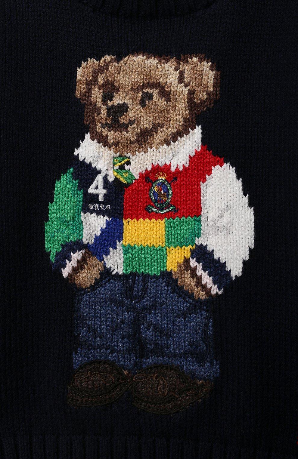 Детский хлопковый пуловер POLO RALPH LAUREN синего цвета, арт. 320834677 | Фото 3
