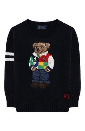Детский хлопковый пуловер POLO RALPH LAUREN синего цвета, арт. 321834677 | Фото 1