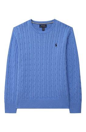 Детский хлопковый пуловер POLO RALPH LAUREN голубого цвета, арт. 323702674 | Фото 1