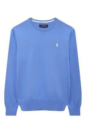Детский хлопковый пуловер POLO RALPH LAUREN синего цвета, арт. 323799887 | Фото 1