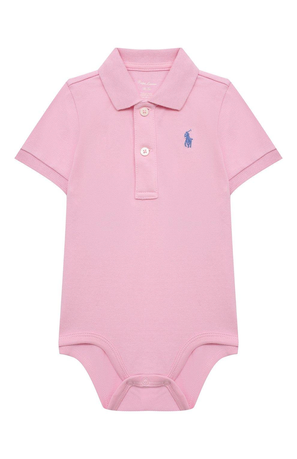 Детское хлопковое боди POLO RALPH LAUREN светло-розового цвета, арт. 320812073 | Фото 1