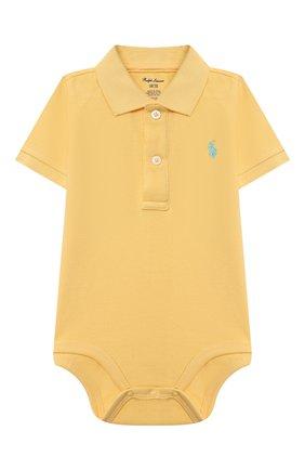 Детское хлопковое боди POLO RALPH LAUREN желтого цвета, арт. 320812073 | Фото 1