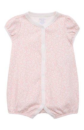 Детское хлопковый песочник POLO RALPH LAUREN розового цвета, арт. 310833418 | Фото 1
