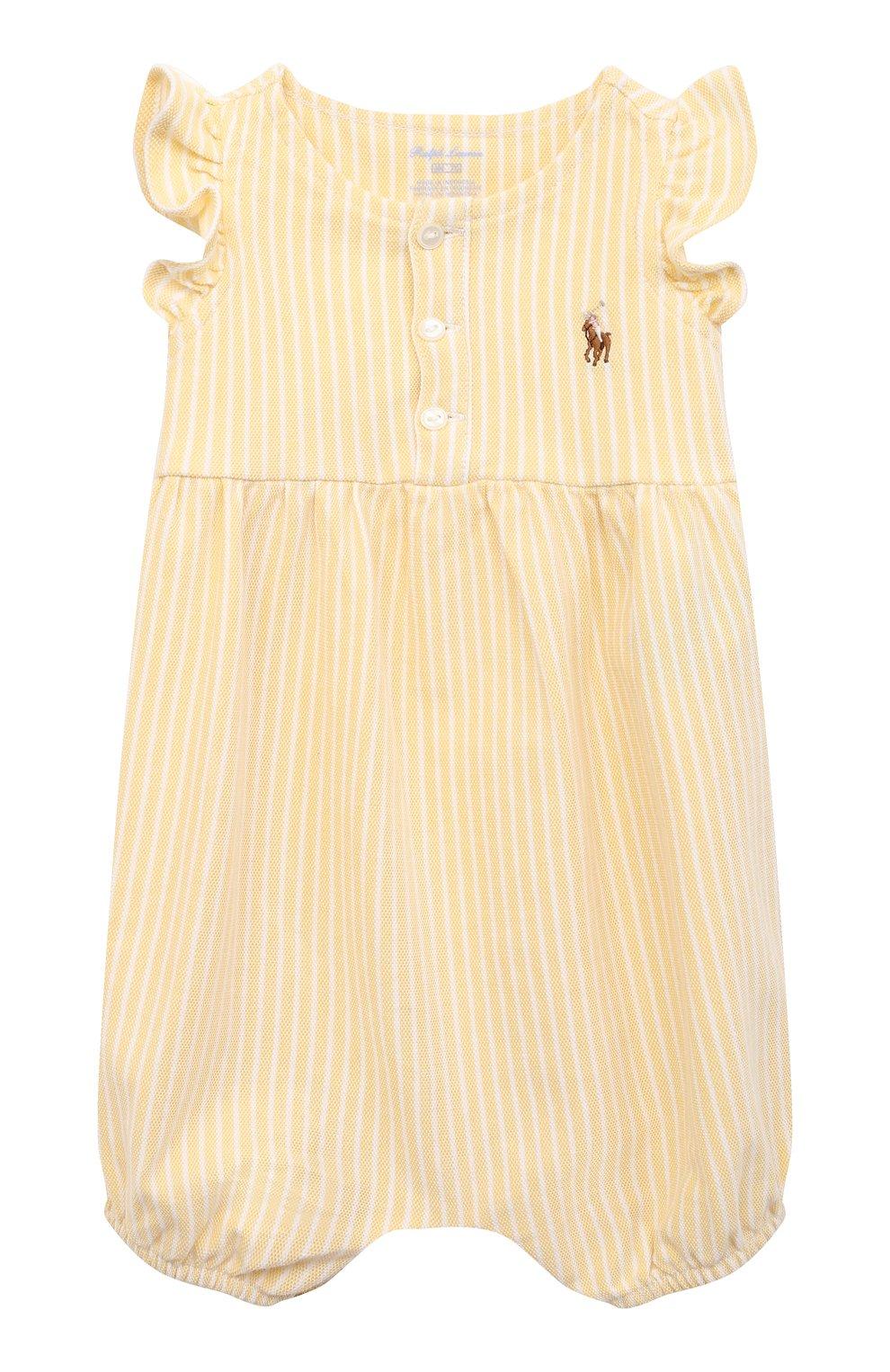 Детское хлопковый песочник POLO RALPH LAUREN желтого цвета, арт. 310833416 | Фото 1