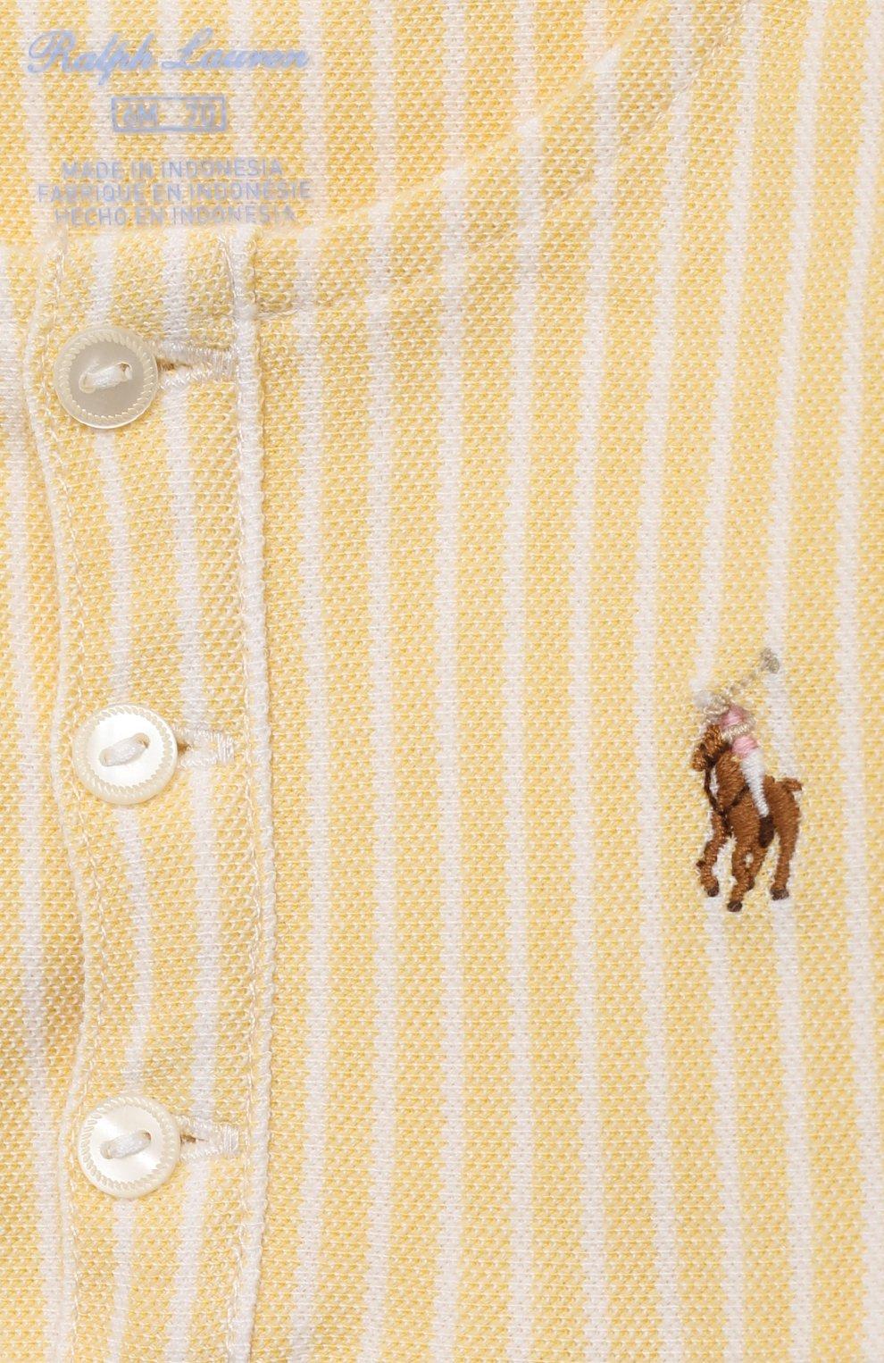 Детское хлопковый песочник POLO RALPH LAUREN желтого цвета, арт. 310833416 | Фото 3