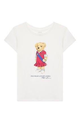 Детская хлопковая футболка POLO RALPH LAUREN белого цвета, арт. 312838265 | Фото 1