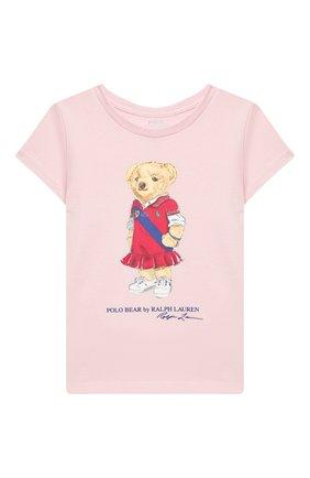 Детская хлопковая футболка POLO RALPH LAUREN розового цвета, арт. 312838265 | Фото 1