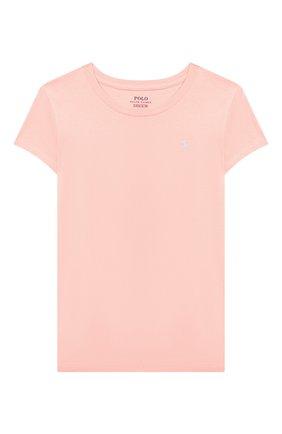 Детская хлопковая футболка POLO RALPH LAUREN розового цвета, арт. 313833549 | Фото 1