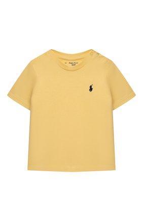 Детский хлопковая футболка POLO RALPH LAUREN желтого цвета, арт. 320832904 | Фото 1
