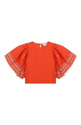 Детское хлопковая блузка STELLA MCCARTNEY кораллового цвета, арт. 602830/SQK79 | Фото 1