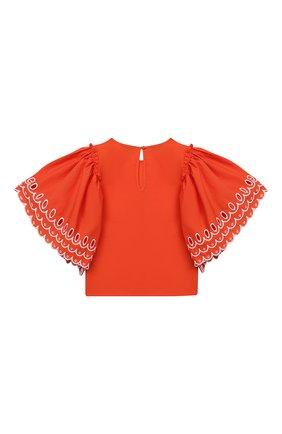 Детское хлопковая блузка STELLA MCCARTNEY кораллового цвета, арт. 602830/SQK79 | Фото 2