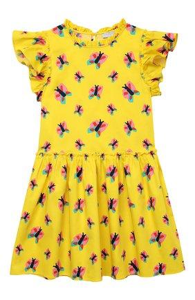 Детское хлопковое платье STELLA MCCARTNEY желтого цвета, арт. 602784/SQKA3   Фото 1